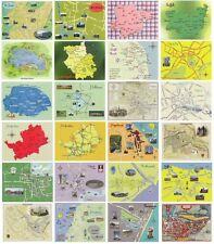 Set of 24 Map Postcards of Locations in the East of England / East Anglia
