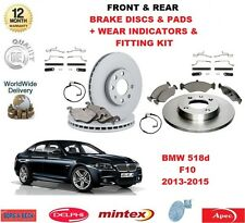 FOR BMW 520d 520i F10 FRONT & REAR BRAKE PADS DISCS FITTING KIT WEAR INDICATORS
