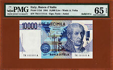 Italy 10000 Lire 1984 SOLID Serial 111111 Pick-112d PMG 65 Gem UNC