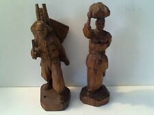 VINTAGE HAND CARVED WOODEN MAN & LADY W/ BABY FIGURINES - SIGNED BY ARTIST