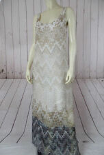 LANGUAGE ANTHROPOLOGIE Dress L NEW $216 Silk Blend Beige Blue Tribal Ikat BOHO!