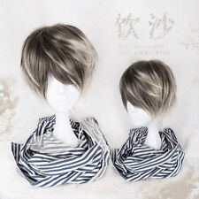 Japanese Harajuku Vintage Gothic Lolita Men's Brown Gradient Cool Cosplay Wig #N