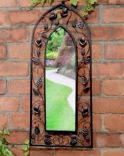 Vintage Distressed Bronze Metal Arch Arched Floral Garden Wall Mirror NEW 71cm
