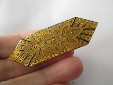 VINTAGE Art DECO Pierre BEX Style BLACK & Gold lucite pin BROOCH