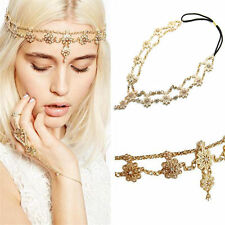 Women Metal Rhinestone pearl Head Chain Jewelry Headband Head Piece Hair band