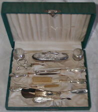 Antique 10 Piece Sterling Silver Vanity Manicure Grooming Set in Box-No Monogram