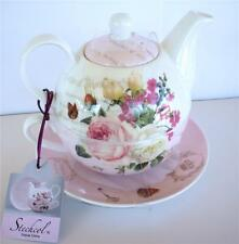 STECHCOL GRACIE TEA FOR ONE SET TEAPOT & CUP TEAWARE FLOWERS ROSES WHITE PINK