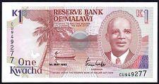 1992 MALAWI 1 KWACHA BANKNOTE * CU 949277 * aUNC * P-23b *