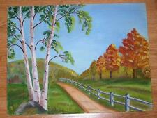 AUTUMN FOLIAGE SEASON BIRCH OAK TREES LANDSCAPE WINDING PATH GRAY FENCE PAINTING