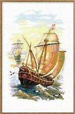 "Sailing At Sunrise (Sailing Ships) Cross Stitch Kit - 15.75"" x 11.75"" - Riolis"