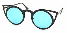 Black Metal Frames Blue Lenses Cat Eye Sunglasses Vintage Retro Style VTG640