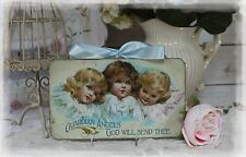 """Guardian Angels"" Vintage Shabby Country Cottage Chic style Wall Decor Sign"