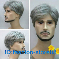 Cosplay handsome men's silver gray short cosplay hair wigs + free wig cap