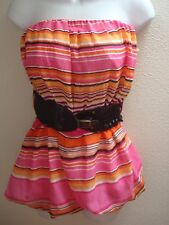 top blouse large l womens casual strapless stretch belted pink orange black