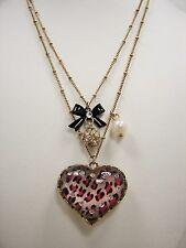 Betsey Johnson Pink Leopard Heart & Black Bow Crystal Gold Necklace MSRP $35