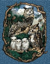 Owls Who Gives A Hoot Wall Hanging Quilt top Panel Fabric 100% Cotton