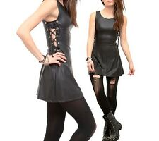 Hot Topic Black Rubberized Laced Up Bondage Mini Tank Dress Visual Kei Punk Goth