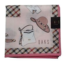 New DAKS Handkerchief / Mini-Scarf Hat Bag Shoes Check print Pink Japan-Made