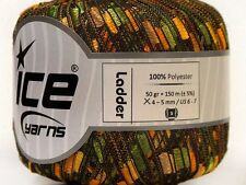 Green Orange Yellow Tan Ladder Ribbon Yarn Ice Trellis Railroad 34031 50gr 164yd