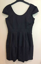 Bardot MYER Ladies Size 12 Black Cap Sleeved Tulip Dress LBD