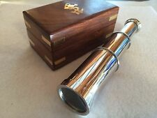 "6"" Nautical Chrome Telescope w/ Box ~ Spyglass Maritime"