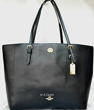 AUTH 36424 COACH BLACK PEBBLED TURNLOCK TOTE BAG MSRP $295.00 #305M
