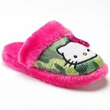 Hello Kitty Plush Fur Camouflage Camo Fur Slippers Pink Green Small 5 / 6 Girls