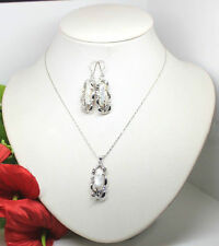 Rare Natural Biwa White Freshwater Pearl Pendant Necklace Earrings Jewelry Set