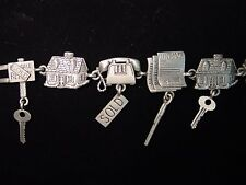"""JJ"" Jonette Jewelry Silver Pewter REAL ESTATE Symbols 7 1/4"" Bracelet"
