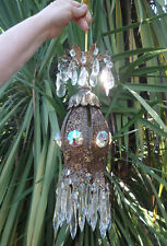 Jeweled Tulip lily filigree hanging lamp chandelier Vintage tole brass AB Boreal