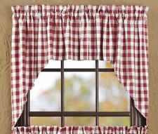 New Farmhouse Retro Diner Picnic Buffalo RED WHITE CHECK Cafe Curtain Swags