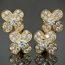 Fabulous! VAN CLEEF & ARPELS Trefle Diamond 18k Yellow Gold Flower Earrings