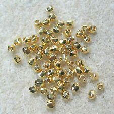 Czech Fire Polish 24K Gold Coated 2mm Crystal Round 100 Glass Beads 2TINY®