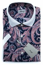 New BRIONI Red Blue Paisley S/S Button Down Leisure Shirt Sz III 16 M L NIB $550