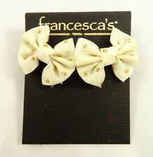 Super Cute Tan Bow Stud Earrings with Gold Sequins by Francesca's NWT #E1236
