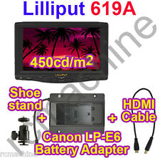 "2013 Lilliput 7"" 619A 1080P HDMI Monitor+LP-E6 adapter BEST for Canon 5D-II III"