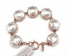 "CATHERINE POPESCO 16mm Shade Faceted Swarovski Crystal Gold Bracelet 7.5"""
