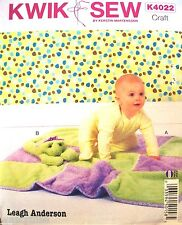 Craft Kwik Sew 4022 Pattern UNCUT Leagh Anderson Plush Baby Blanket & Frog Toy
