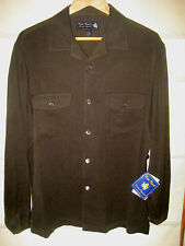 NAT NAST LUXURY TEXTURED SILK EMBROIDERED LOGO BUTTONS 2 POCKET SHIRT-$165-NWT-M