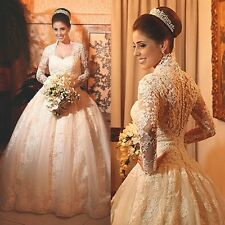 White Ivory Lace Appliques Ball Gown Long Sleeve Wedding Bridal Gowns Custom New