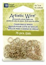 Artistic Wire 18-Gauge Non-Tarnish Brass Chain Maille Rings, 15/64-Inch Diameter