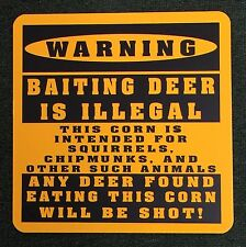 Warning Deer Hunting Funny Metal Sign Hiking Outdoors Baiting Deer Feeder