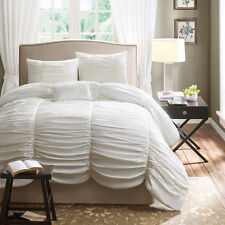 BEAUTIFUL CHIC LUXURIOUS RUFFLED WHITE TEXTURED COMFORTER SET QUEEN & KING SZS