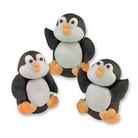 Sugar Penguins 3D - Edible Sugar Christmas Cupcake Toppers / Cake Decoration