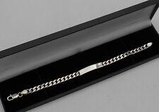 Mens 21 Grams 925 Sterling Silver Curb Identity Bracelet  Hallmarked
