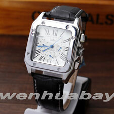 Jaragar Mens Fashion Leather Band Automatic Mechanical Self-Winding Wrist Watch