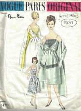 1960s Vintage VOGUE Sewing Pattern B36 DRESS STOLE & PETTICOAT( 1581) Nina Ricci