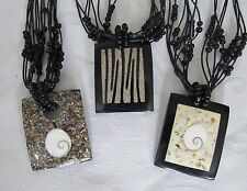 Wholesale Lot of 6 Hand Crafted Assorted Shell Button Clasp Resin Necklaces