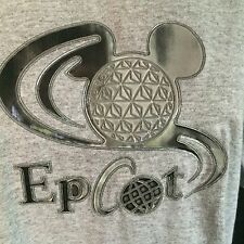 Walt Disney World T-Shirt Epcot Silver 3-D Mickey Mouse Head Graphic Women M