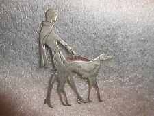 Vintage Art Deco Lady & Borzoi Dog Brooch 2 1/2""